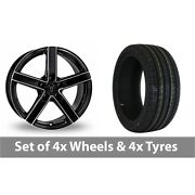 4 X 17 Wolfrace Emotion Black Polished Alloy Wheel Rims And Tyres - 215/50/17