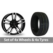 4 X 18 Wolfrace Drive Black Polished Alloy Wheel Rims And Tyres - 225/40/18