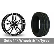4 X 18 Wolfrace Torino Black Polished Alloy Wheel Rims And Tyres - 225/35/18