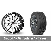 4 X 20 Wolfrace Munich Black White Alloy Wheel Rims And Tyres - 225/35/20