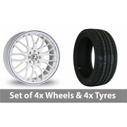 4 X 15 Calibre Motion 2 White Blue Alloy Wheel Rims And Tyres - 185/55/15