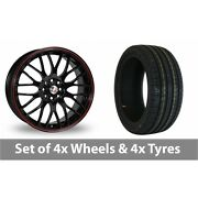 4 X 18 Calibre Motion 2 Black Red Alloy Wheel Rims And Tyres - 225/55/18