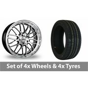 4 X 18 Calibre Spur Black Polished Alloy Wheel Rims And Tyres - 255/45/18