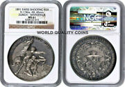 Swiss 1891 Silver Shooting Medal Zurich Winterthur R-1746a Mint-250 Ngc Ms61