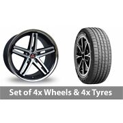 4 X 19 Axe Ex11 Black Polished Alloy Wheel Rims And Tyres - 255/45/19