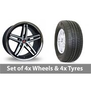 4 X 19 Axe Ex11 Black Polished Alloy Wheel Rims And Tyres - 255/50/19