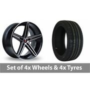 4 X 18 Axe Ex14 Black Polished Alloy Wheel Rims And Tyres - 225/40/18