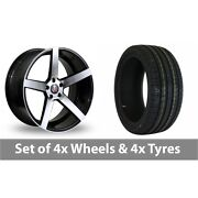 4 X 18 Axe Ex18 Black Polished Alloy Wheel Rims And Tyres - 245/50/18