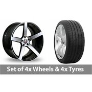 4 X 20 Axe Ex18 Black Polished Alloy Wheel Rims And Tyres - 265/30/20