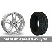 4 X 18 Tekno Rx4 Silver Alloy Wheel Rims And Tyres - 255/45/18