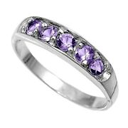 Sterling Silver Cz Amethyst Baby Or Pinky Ring Size 1