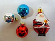 Miniature Christmas Ornaments Lot Of 4 Ball And Santa Glass Red Blue Silver