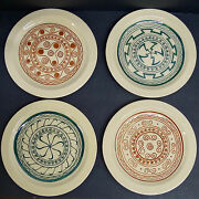 Decorated Vintage Pacific Pottery Plates-set Of 4