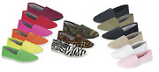 New Womens Canvas Slip On Flats Casual Comfort Simple Shoes 15 Colors Size 5-10
