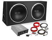 Belva Bpkg 2 12 Inch Powered Car Subwoofers In Box With Amplifier And Kit Package