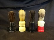 Old Vtg Collectible Men's Shaving Brushes Lot Of 4 Made Rite Peerless Usa