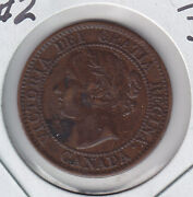 1859,double Punched Narrow 9 2 ,canada Large Cent Grade Vf30
