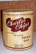 Old Charles Chips Potato Chip Tin Box Container Kitchen Ad Advertising Large 10andrdquo