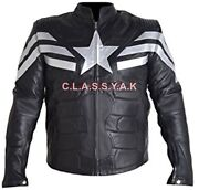 Classyak Menand039s America Winter Soldier Captain Leather Jacket