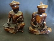 Old Vtg Unique Pair Of Asian Men Sitting Reading And Writing Brown Statue Bookends