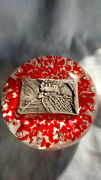 Large Gibson 1985 Paperweight - Sulfide With Train And Controlled Bubble