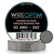 30 Gauge Awg Nichrome 80 Wire 250' Length - N80 Wire 30g Ga 0.254 Mm 250 Ft
