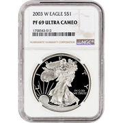 2003-w American Silver Eagle Proof - Ngc Pf69 Ucam