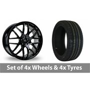 4 X 20 Riva Dtm Black Alloy Wheel Rims And Tyres - 245/40/20