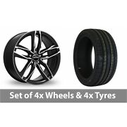 4 X 18 Gmp Italy Atom Black Polished Alloy Wheel Rims And Tyres - 255/45/18