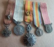 1914 Wwi France Tunisia 5 Miniature Medals Bar Cross Star Coloniale Order Badge