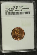 1960 D/d Anacs Ms 65 Red Large Date Lincoln Memorial Cent E3110