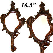 Antique Victorian Era Hand Carved 16.5 Vanity Hand Mirror, Frame, Very French