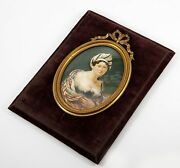 Fine Antique French Portrait Miniature Fashion And Exotic Low Bodice Lg Frame