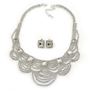 Bridal, Wedding, Prom Clear Austrian Crystal Layered Necklace And Stud Earrings