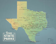 Texas State Parks Map 11x14 Print Natural Earth 067