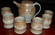 Studio Pottery Handcrafted GREG OLSON STONEWARE 7 pc Beverage Set CALIFORNIA