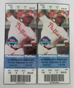 Pair Of 2007 Philadelphia Phillies Nl East Clinching Game Tickets 9-30 128026
