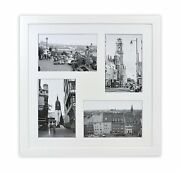 12x12-inch Square Wood Collage Frames With Photo Mat Andreal Glass For 4 4x6,white