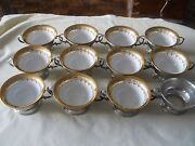 Birks Sterling Silver Set Of 12 Ramekins Soup Cup Holder With Dresden Cups