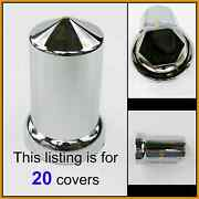 20 Lug Nut Covers 33mm Flange 3-1/8 Tall Round Pointed Push On Plastic 10269