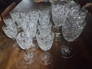 Antique Set 18 Baccarat Crystal Globets Glasses Lagny Marked 5, 6 And 7 Inches