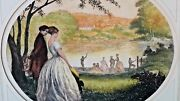 William Alphonse Lambrecht1876-1940french Color Etching Courting Scene Signed