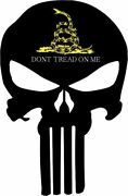 Punisher Skull Black With Yellow/white Donand039t Tread Me Decal - Various Sizes