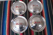 1952-1955 Nash 15 Inch Set Of 4 Stainless Steel Hubcaps Original Wheel Covers
