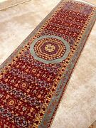 Oriental Area Rug Runner Fine 2and0398 X 10and039 Knotted Red/blue Hall Way