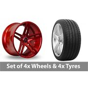 4 X 20 Axe Ex20 Candy Red Alloy Wheel Rims And Tyres - 265/30/20