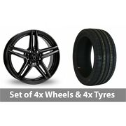 4 X 20 Wolfrace M10 Black Alloy Wheel Rims And Tyres - 255/30/20