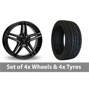 4 X 20 Wolfrace M10 Black Alloy Wheel Rims And Tyres - 255/45/20