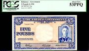 Bahamas P12a Much Rarer 5 Pounds 1936 King George Vi Pcgs 53ppq Finest