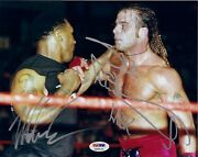 Mike Tyson And Shawn Michaels Signed 8x10 Photo Psa/dna Coa Wwe Wrestlemania 14